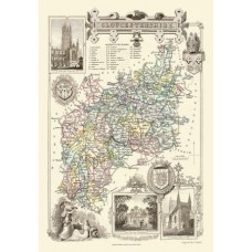 Map Puzzle of Old Gloucestershire  by Thomas Moule Circa 1836