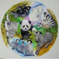 Black and White Babies circular 500 piece Puzzle